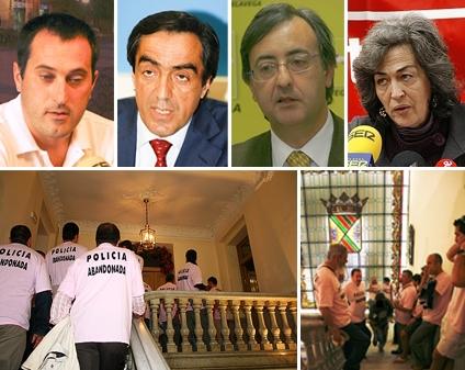 Pedro Aguirre (PSOE), Ildefonso Calderón (PP), Pedro García Carmona (PRC), Esther García (ACPT). Abajo, policías locales entran con sus protestas al Ayuntamiento de Torrelavega
