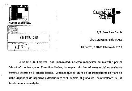 """El Comité de Empresa de MARE, molesto por el «despido» de Florentino Muñoz Lunate (""""Tate"""") por aspectos «extralaborales»"""