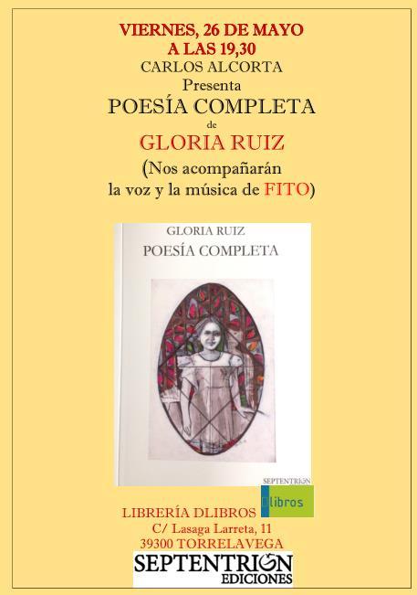"""Gloria Ruiz presentará su libro """"Poesía completa"""""""