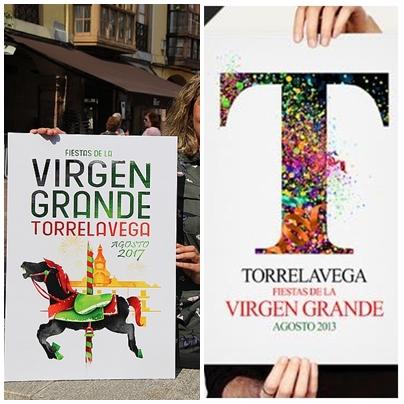 """A la izquierda el cartel """"A todo color"""", del año 2017, y a la izquierda el cartel """"A todo color"""", del año 2013"""