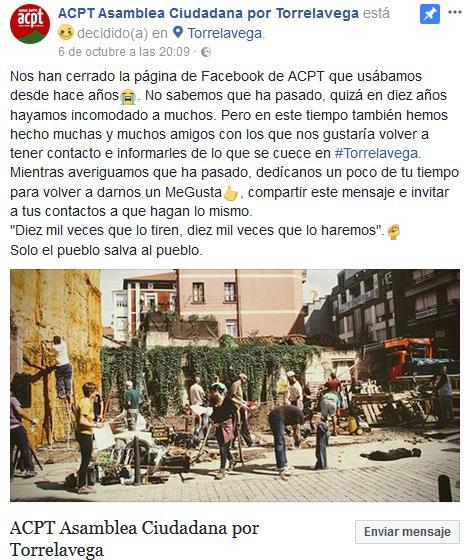 ACPT denuncia que Facebook ha cerrado su página