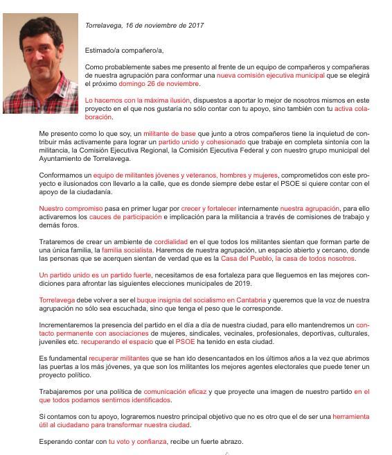 Bernardo Bustillo envía una carta a los militantes del PSOE