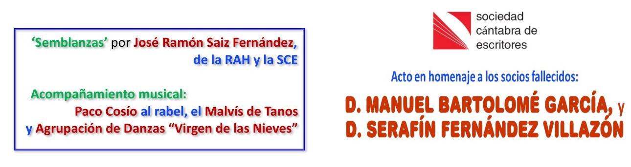 La Sociedad Cántabra de Escritores organiza un homenaje a Serafín Fernández Villazón y Manuel Bartolomé