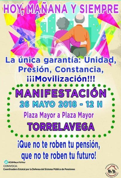 Convocada una manifestación en defensa de las pensiones