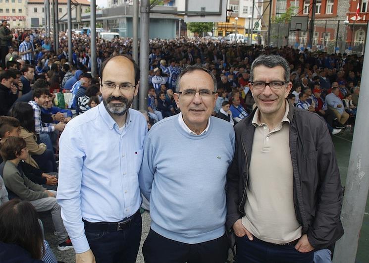 José Luis Urraca, José Manuel Cruz Viadero, Pedro Pérez Noriega en La Llama, ascenso de la Gimnástica a Segunda B