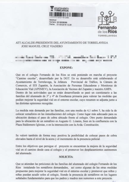 El AMPA del Colegio Fernando de Los Ríos pide semáforos en la Avenida de la Constitución