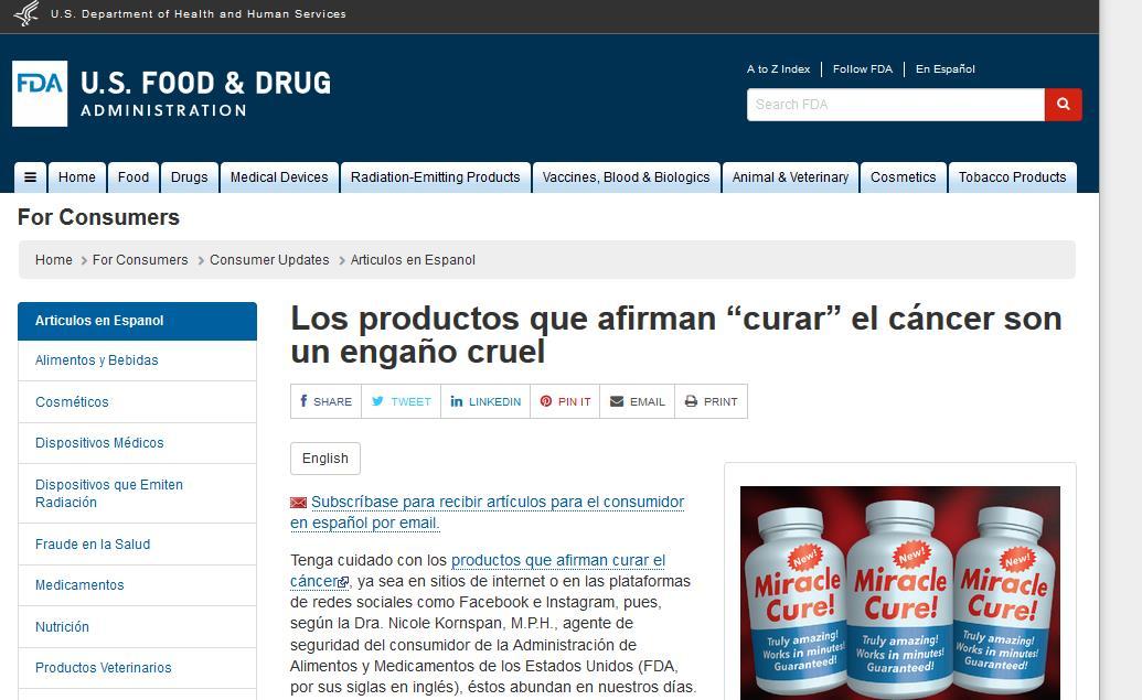 """FDA: Los productos que afirman """"curar"""" el cáncer son un engaño cruel"""