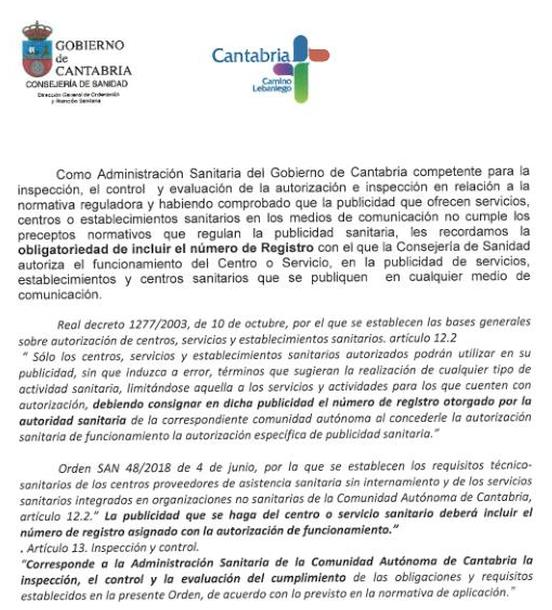 El gobierno de Cantabria recuerda la regulación de la publicidad sanitaria, debiendo consignar en la publicidad el número de registro otorgado por la autoridad sanitaria.