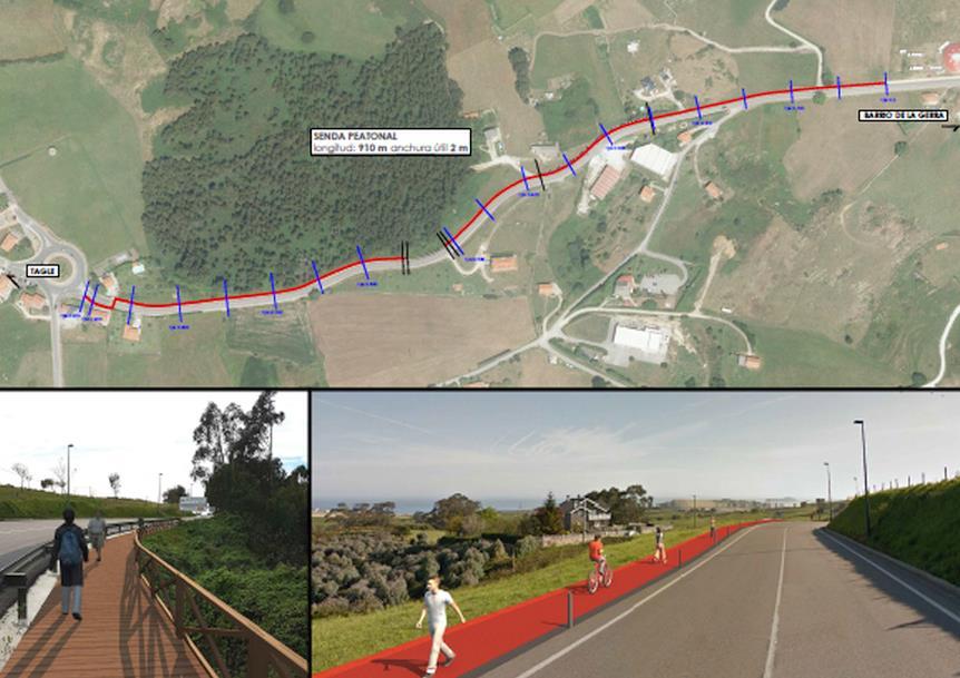 Arrancan las obras de construcción de la senda peatonal que unirá Suances con Tagle