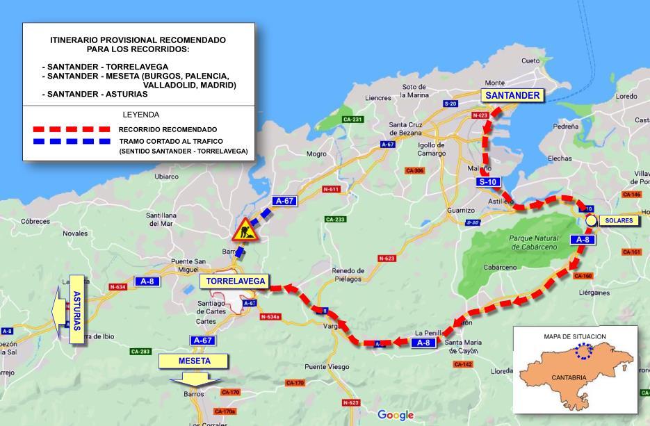 Rutas alternativas de tráfico ante el corte total de la A-67 en sentido Torrelavega y Asturias
