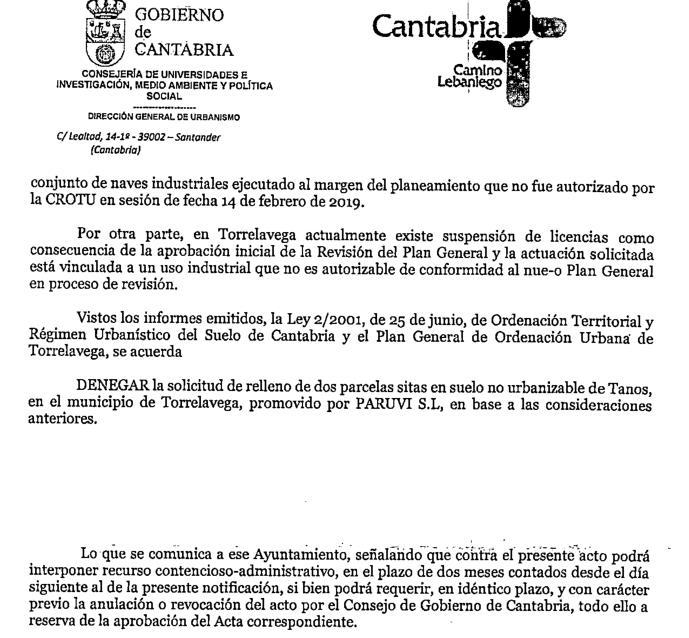 """La CROTU rechaza los recursos de PARUVI sobre sus naves """"ilegales"""" en Tanos"""