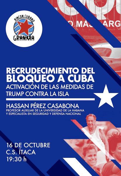 """El Rincón Cubano denuncia el """"Recrudecimiento del bloqueo a Cuba"""""""