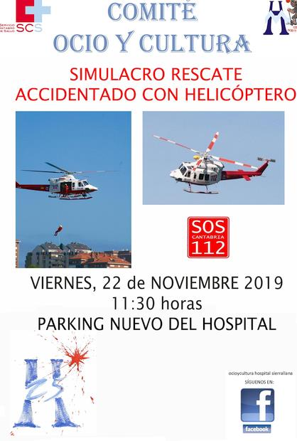 Un simulacro de rescate con helicóptero, con motivo del 25 aniversario del Hospital Sierrallana