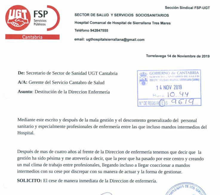 UGT pide la destitución de la directora de Enfermería de Sierrallana por su 'pésima gestión' en los últimos cuatro años