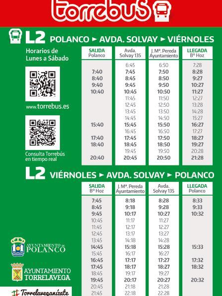 En la imagen los horarios del Torrebús a Polanco